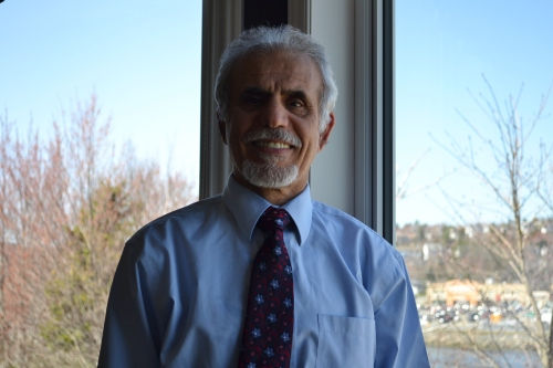 Taleb Abidali in his office overlooking Bedford Bay (photo by Jordan Whitehouse).