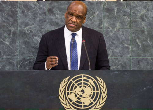 President John Ashe at the opening of the 68th session of the United Nations General Assembly. (photo courtesy of United Nations General Assembly - President of the 68th session)