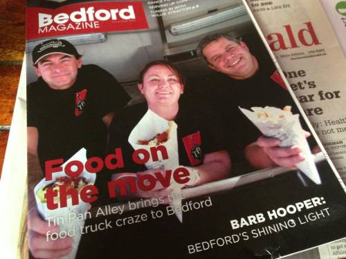 The cover of this month's Bedford Magazine (photo courtesy of Tin Pan alley).